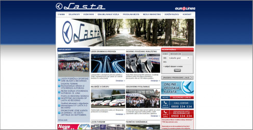 "Web site designed for <a href=""http://lasta.rs/"" target=""_blank"">Lasta eurolines</a>"